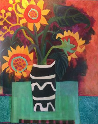 "Contemporary Abstract Still Life Flower Art Painting ""Here Comes The Sun"" by Bold Expressive Painter,Santa Fe Artist Annie O'Brien Gonzales"