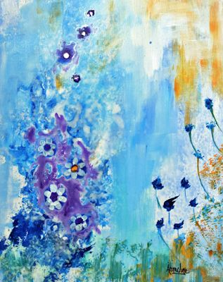 "Abstract Environmental Art Painting Under Water, ""A Secret Garden"" by International Contemporary Abstract Artist Arrachme"