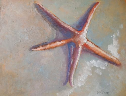 Daily Painting, Starfish Oil Painting, Coastal Wall Decor, Beach House Artwork, Small Oil Painting