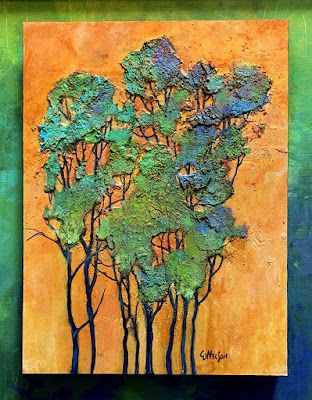 """Abstract Landscape, Trees, Contemporary Painting, """"BLUE GROVE II"""" by Carol Nelson Fine Art"""