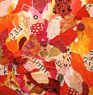 """Mixed Media Collage Art Painting """"Terra Cotta Collage"""" by Santa Fe Contemporary Artist Melanie Birk"""