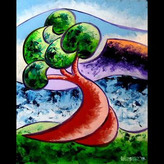 Mark Webster - Abstract Rough Futurist Landscape Oil Painting