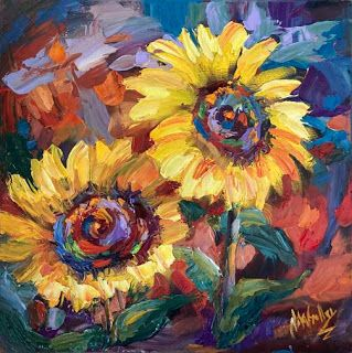 New Colorful Sunflower Painting by Palette Knife Artist Niki Gulley