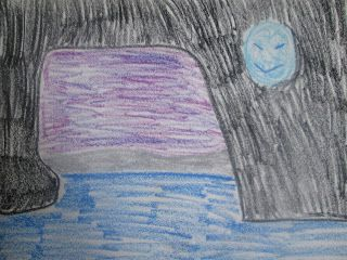 Bad Blue Moon Rising Hiding In A Cave - Oil Pastel