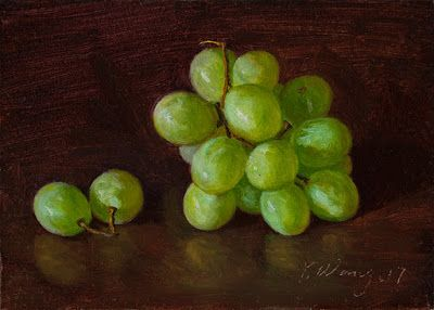 Green grapes painting still life daily painting a day small work of art original fruit painting