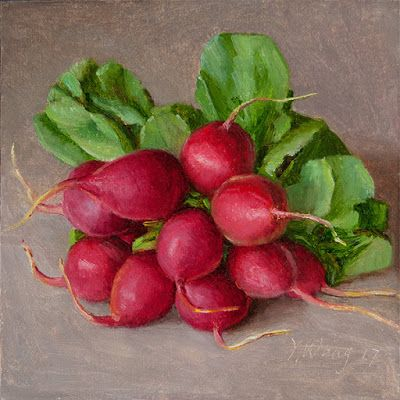 A bunch of radishes still life painting a day vegetable daily painting