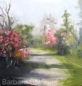 Down the Red-Bud Path, oils,miniature,Barbara Haviland