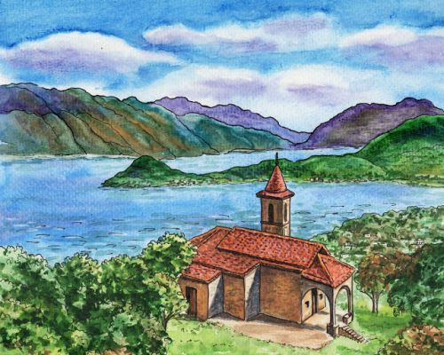 Lake Como Chiesa Di San Martino Italy Watercolor by Irina Sztukowski