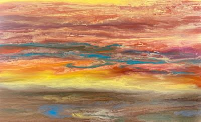"Abstract Landscape, Sunset Painting, Contemporary Landscape ""Reflecting a Blazing Sky III"" by International Contemporary Artist Kimberly Conrad"