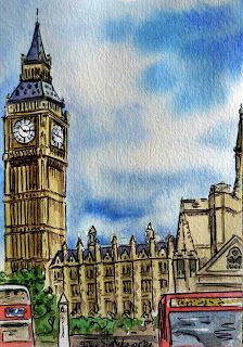 Big Ben Watercolor London Great Britain - Sketchbook Project