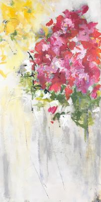 "Contemporary Floral Abstract Painting, ""Finale"" by Abstract Artist Pamela Fowler Lordi"