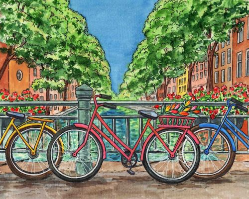 Amsterdam Netherlands Bridge With Bicycles Painting