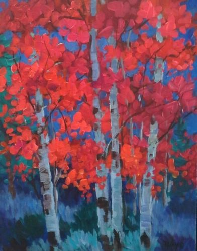 """Contemporary Red Aspen Birch Tree Painting """"Red Aspen at Night"""" by Colorado Landscape Painter Laura Reilly"""