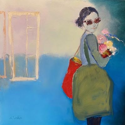 """Contemporary Figurative Painting, Abstract Art, Expressionism, """"Follow Me"""" by Oklahoma Artist Nancy Junkin"""