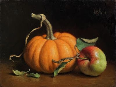 """Pumpkin and Crab Apple"" Oil on 6x8 board"