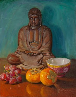 Buddha statue with fruit still life oil painting original contemporary realism