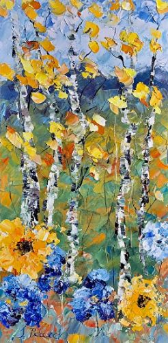"Palette Knife Aspen Tree Impressionist Landscape Painting ""Pike's Peak Sunflowers"" by Colorado Impressionist Judith Babcock"