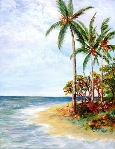 "Florida Coastal Landscape,Seascape Painting, Palm Trees,""Tropical Retreat"" Florida Impressionism Artist Annie St Martin"
