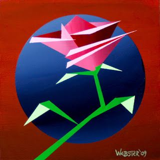 Mark Webster - Abstract Geometric Rose 2 Acrylic Painting