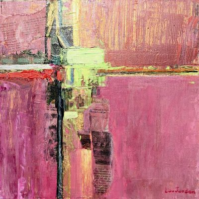 """Abstract Painting, Pink Art, Expressionist Art, Contemporary Painting """"PRINTEMPS I"""" by Virginia Contemporary Artist Lou Jordan"""