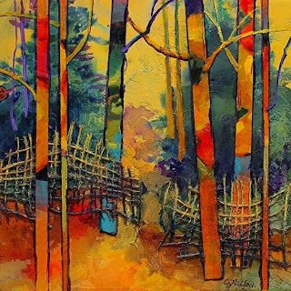 "Abstract Mixed Media Landscape Tree Art Painting ""Gateway"" by Colorado Mixed Media Abstract Artist Carol Nelson"