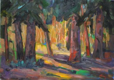 """Trees, Forest, Contemporary Impressionist Colorado Landscape Painting, Fine Art Oil Painting """"Ancient Giants"""" by Colorado Contemporary Fine Artist Jody Ahrens"""