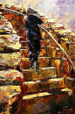 "Figure, Architecture, Cobblestone, Stairs , Fine Art Oil Painting ""Halfway There"" By Texas Artist Debra Hurd"