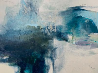 "Contemporary Art, Abstract Landscape Painting, Fine Art For Sale ""Singing The Blues"" by Intuitive Artist Joan Fullerton"