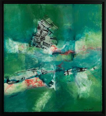 "Green Art, Mixed Media Abstract Painting, Contemporary Art, Expressionism, ""Separation Anxiety"" by Contemporary Artist Tracy Lupanow"