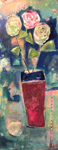 """Contemporary Expressionist Still Life Fine Art Painting """"3'S A PARTY!"""" by Oklahoma Artist Nancy Junkin"""
