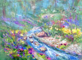 Garden Along the Stream, New Contemporary Landscape Painting by Sheri Jones