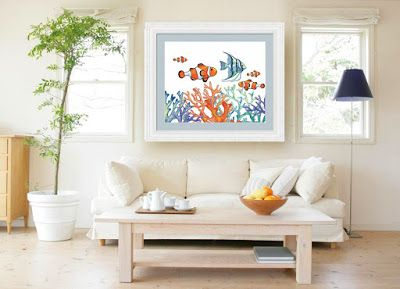 Beach House Style Interior Decor Ideas With Watercolor Paintings