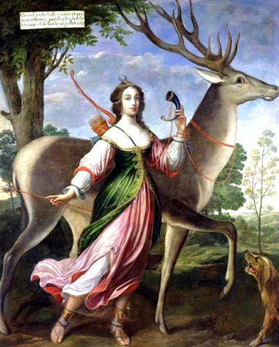 1630 Allegory of Diana Goddess of the Hunt with faithful Dogs