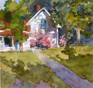 Summer Cottage Landscape Watercolor Painting Wooded Cozy Flowering ShrubsArt