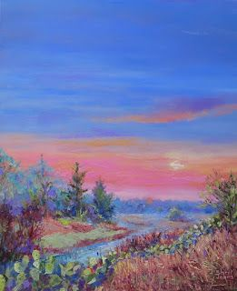 Misty Morning, New Contemporary Landscape Painting by Sheri Jones