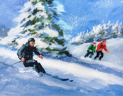 DOWNHILL SKIERS by TOM BROWN