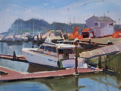 Illwaco Marina, plein air oil painting by Robin Weiss