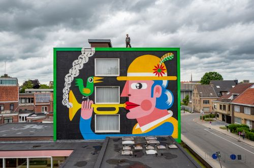 Playful Illustrative Characters Span Brightly Painted Walls by Joachim