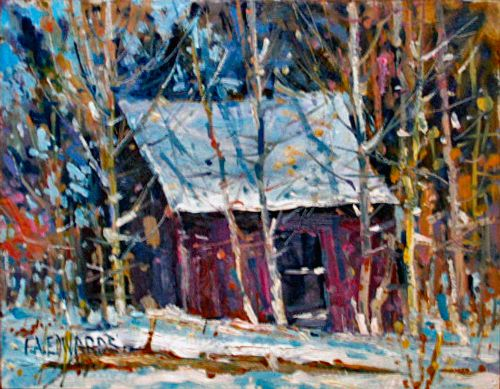 """Early Snow Fall 9"""" x 12"""" Oil / W. Panel"""