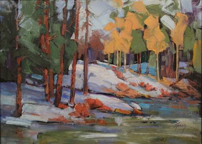 "Contemporary Impressionist Landscape Painting,Colorado Landscape, Fine Art Oil Painting,""Hibernation"" by Colorado Contemporary Fine Artist Jody Ahrens"