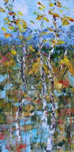 "Impressionism Aspen Tree Colorado Landscape Painting ""Fall Mosaic"" by Colorado Impressionist Judith Babcock"