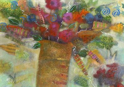 "Contemporary Abstract Flower Art Painting ""Bright and Lively Abstract Flowers in Vase 3"" by Illinois Artist Marilyn Weisberg"