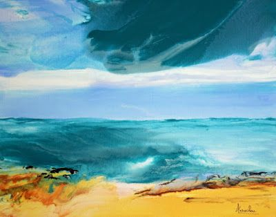 "Fluid Contemporary Landscape Painting ""Whispering Waves"" by Contemporary International Artist Arrachme"