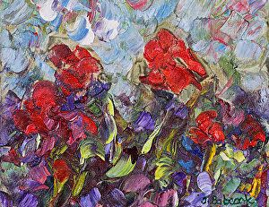 """Original Palette Knife Flower Painting """"Coming of Spring"""" by Colorado Impressionist Judith Babcock"""