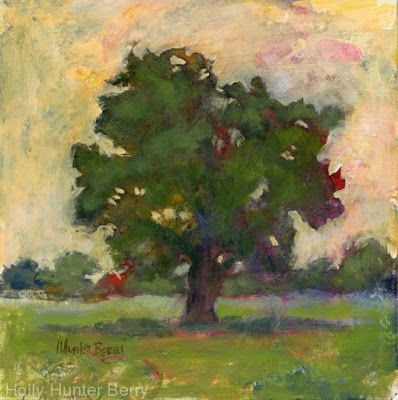 "Small Paintings, Colorful Contemporary Landscape Painting, Trees, Abstract Landscape, Tree, Daily Painter, ""Family Tree"" by Passionate Purposeful Painter Holly Hunter Berry"