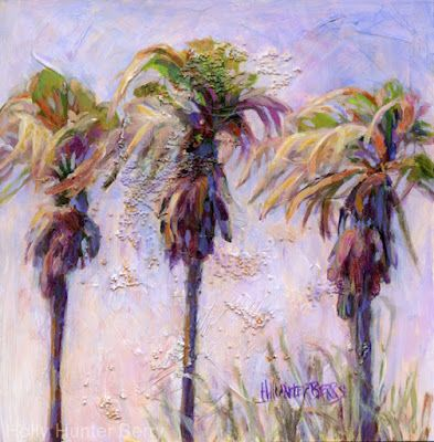 "Palm Trees,Contemporary Mixed Media Landscape, Original Painting ""Three Sisters"" by Passionate Purposeful Painter Holly Hunter Berry"