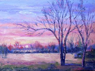 Golden Morning, New Contemporary Landscape Painting by Sheri Jones