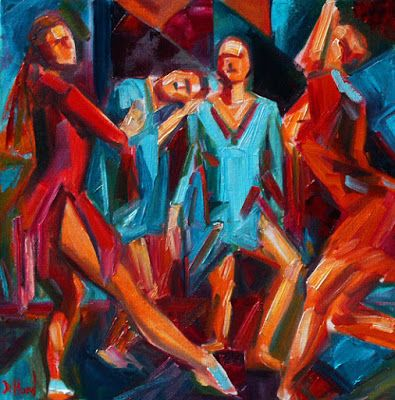 "Dancers, Contemporary Figurative Art, Fine Art Oil Painting, Jazz, ""Jazz Dance"" by Texas Artist Debra Hurd"