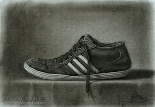 ' Adidas Shoe ' Still Life With Charcoal 16'' by 11''