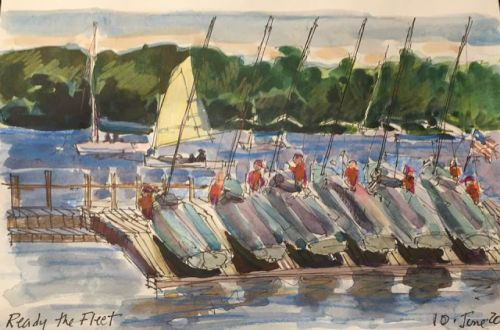 """Day 246 """"Ready the Fleet"""" 6 x 9 ink and watercolor"""